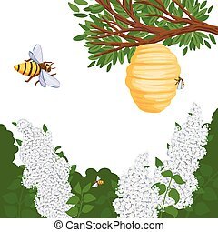 A bee flies to the hive with honey, lilac in the forest. Vector illustration