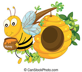 A bee holding a pot of honey near the beehive