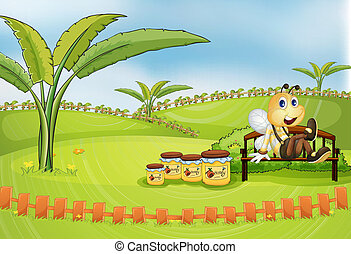 Illustration of a bee sitting at the bench with jars of honey
