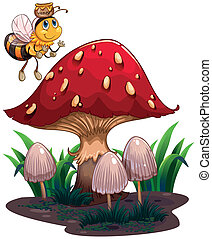 A bee with a honey flying near the red mushroom