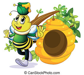 A bee with a pot above its head near the beehive