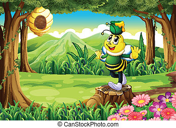 A bee with a pot above its head standing on a stump