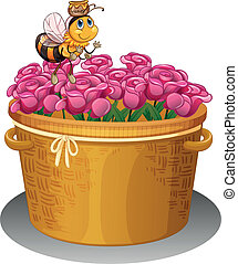 A bee with a pot of honey flying above the basket with...