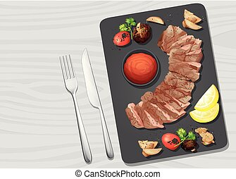 A Beef Steak on Plate