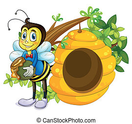 A beehive beside the bee - Illustration of a beehive beside...