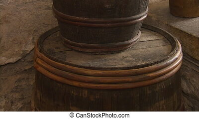 A beer barrel in a pub - A tilt up shot of a beer barrel in...