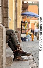 A Beggar On The Street in Lima, Peru