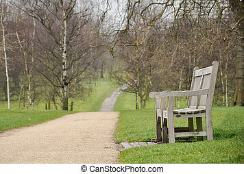 A bench in the park in early spring