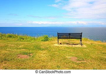 A bench on the seashore, Ayrshire
