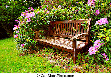 A bench with flowers