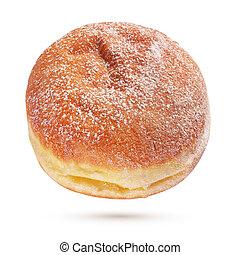 Berliner Pfannkuchen or donut with sugar powder isolated - A...