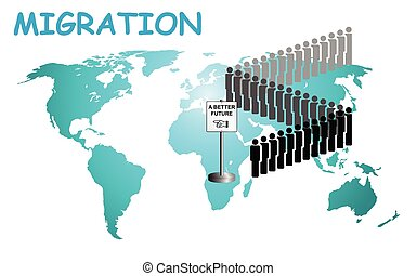 Representation of economic migrants and refugee migration with people queuing for a better future on world map background