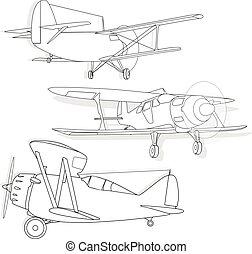 A bi plane isolated on sky. Vector illustration.