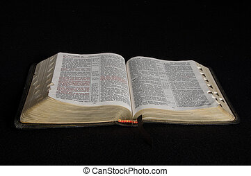 A Bible opened and set on a black background.
