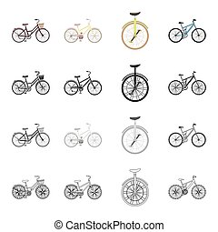 A bicycle, a vehicle for recreation and sports. Different kinds of bicycles set collection icons in cartoon black monochrome outline style vector symbol stock isometric illustration web.