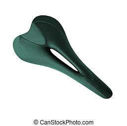 A bicycle seat isolated against a white background