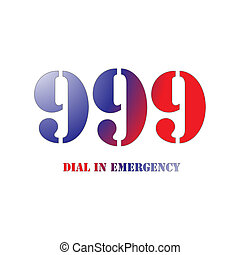 999 Red and Blue - A Big 999 Red and Blue Symbol isolated on...