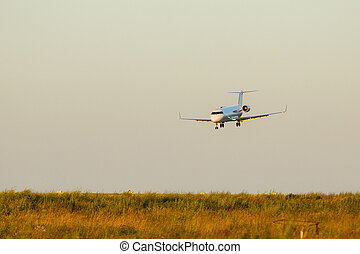 A Big Airplane Landing at the Airport