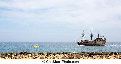 A big beautiful ship in the sea, Cyprus