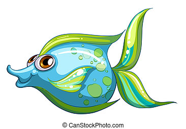 A big blue fish with a stripe-colored tail - Illustration of...