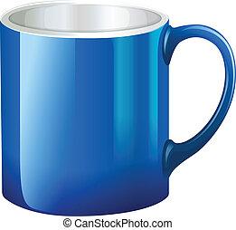 A big blue mug