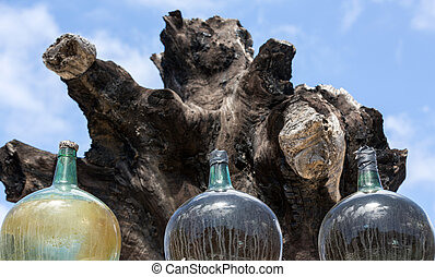 A big bottles with grape wine - malvasia. Lanzarote, Spain