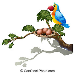 A big branch of a tree with a nest and a bird