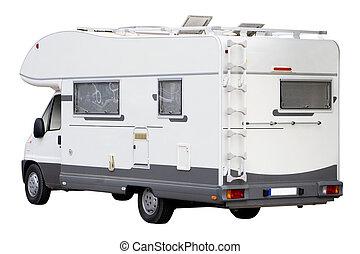 Camper Van - A Big Camper Van Isolated on White