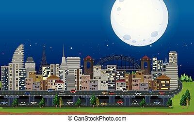 A Big City Under the Moonlight