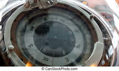A big compass in the crews deck