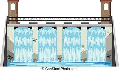 A Big Dam on White Background illustration