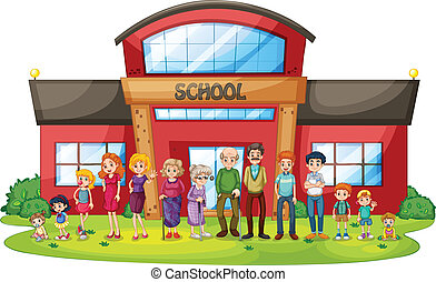 A big family in front of the school building - Illustration...