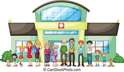 A big family outside the hospital - Illustration of a big...