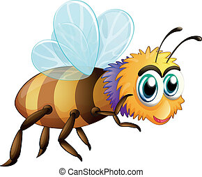 A big fat bee - Illustration of a big fat bee on a white...