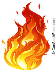 A big fire - Illustration of a big fire on a white...