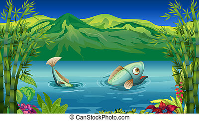 A big fish at the lake - Illustration of a big fish at the ...