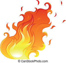 A big flame - Illustration of a big flame on a white...