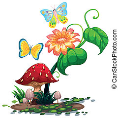 A big flower near the mushroom with two butterflies