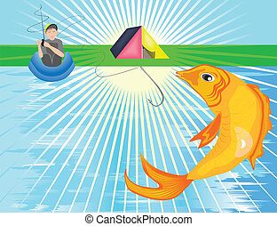 A big golden fish leaping out of the river