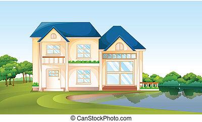 A big house near the lake