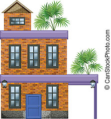 A big house with palm plants - Illustration of a big house...