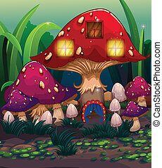 A big mushroom house with a blue curtain
