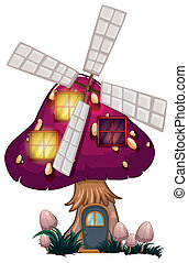 A big mushroom house with a windmill