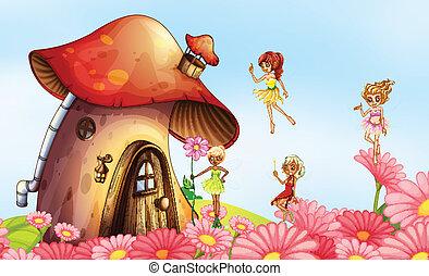 A big mushroom house with fairies