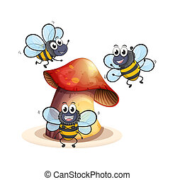 A big mushroom plant with three bees