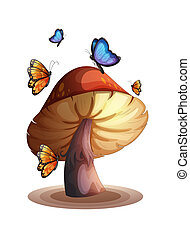 A big mushroom with butterflies