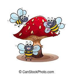 A big mushroom with smiling bees