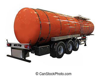 Fuel Tanker - A Big Orange Fuel Tanker Isolated on White