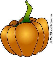 A big orange pumpkin, illustration, vector on white background.