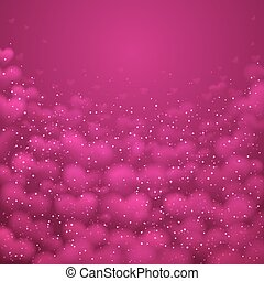 A big pink heart made of small hearts placed.